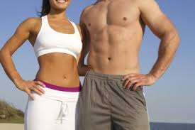 man and woman flat stomach